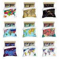 3D World Map Print Duvet Cover Bedding Set Comforter Cover Pillow Sham