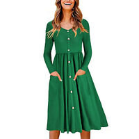 Women's Casual Long Sleeve V Neck Button Down Swing Dress Party Mini Dresses New