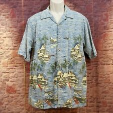 Clearwater Outfitters Hawaiian Camp Shirt Large Tropical Paradise Boat Island