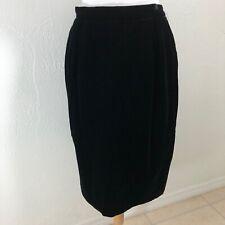 VTG Patra Sz 12 Velvet Pencil Skirt Lined Grunge Career Basic Evening Modest