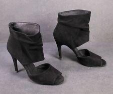 8D Zara Damen Schaft-Sandaletten Velours-Leder schwarz Gr. 38 Pfennigabsatz
