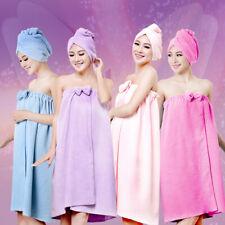 2pcs Lady Women Drying Hair Turban Wrap Hat Cap+Bath Towel Shower Suit bathrobe