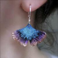 925 Silver Ginkgo Bilbao Fan-Shaped Dangle Drop Hook Two-tone Earrings Jewelry