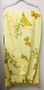 """Vintage Custom Made Pletated Draperies Yellow Butterflies Floral Lined 24""""X81"""""""
