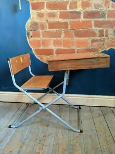 Vintage Child's Raleigh desk and chair - Lift up top with folding metal legs