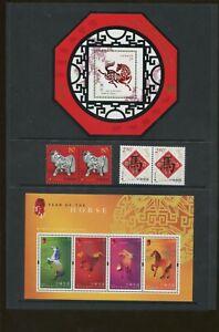 2002 Lunar New Year - Year of The Horse - China & Hong Kong Stamp Set Portfolio