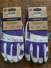 2 x Town & Country Ladies  Gardening Gloves Comfort Fit TGL104M purple MEDIUM