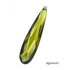Cubic Zirconia Flat Pear Briolette Pendant Bead 7x28mm Olive Green #64576