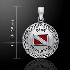 Scuba Dive Flag Instructor Sterling Silver Pendant by Peter Stone Jewelry