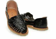 Toms Women Huarache Leather Slip On Sandals Shoes SIZE 7 New Black