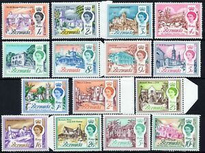 Bermuda 1962 QEII Buildings part set of mint stamps value to 10s MNH