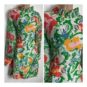 Vintage 60's Mod Dolly White Green Orange Floral High Neck Mini Cotton Dress 8