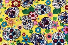 Sugar Candy Skulls  100% Cotton Fabric Material BY HALF METRE  4 Colour Options