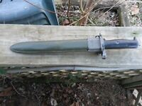 Original USGI WW2 UFH M1 Garand Bayonet with USGI Scabbard, Union Fork and Hoe