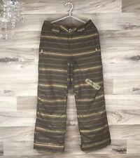 Burton Boys Cyclops Snowboard Ski Pants Green Leech Stripe Sz L 10-14