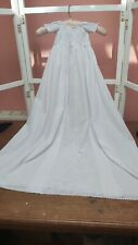 ANTIQUE CHRISTENING GOWN BABY DRESS AYRSHIRE HAND EMBROIDERY WHITE COTTON