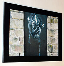 Banksy Mobile Lovers framed 8X12 canvas print poster graffiti reproduction