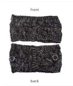 Headband Button Face Mask Cable Knitted Twist Ear Saver & Warmer Winter Hat Yarn