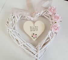 💐Personalised Wedding Wicker Heart Wreath Gift Decoration Flowers Top Table