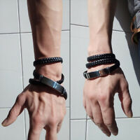 Braided Long Jewelry Stainless Steel Multi-layer Cuff Bracelet Bangle Wristband
