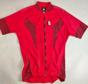 Mens Short Sleeve Cycling Jersey in Red/Black-Made in Spain by ETXEONDO Size S