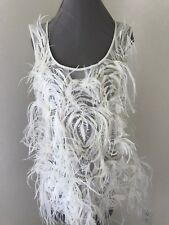 Jason Wu Cream White Beaded Feather Top Blouse Size 12