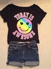 "VGC! Girls Justice ""Todays Awsome"" smilie face shirt/ justice denim shorts Sz 10"