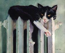 Giclée Tuxedo Cat Art Watercolor Painting Kitty Heatr Print Canvas Large 16x20