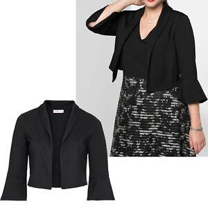 elegant Abend Bolero Jacke Gr.52 schwarz Stretch griffiger Jersey Schalkragen