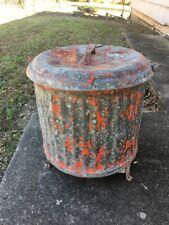 Vintage Underwriters Laboratories Galvanized Oily Rag Trash Waste Can Oil