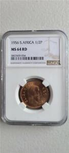 South Africa 1/2 Penny 1956 NGC MS 64 RD