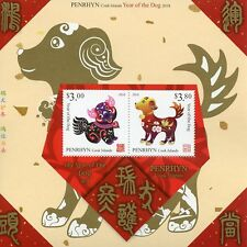 Penrhyn Cook Islands 2018 MNH Year of Dog 2v M/S Chinese Lunar New Year Stamps