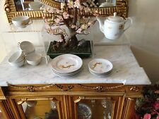 20 pc Japanese Bone China Gold Dragon Tea Set with Geisha Lithophane In Cups