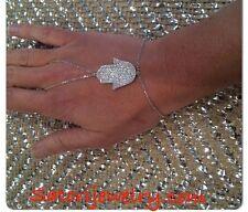 Platinum Sterling Silver Harness Hand/Hamsa Bracelet Gift Evileye Kabbalah Bride