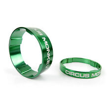 """Circus Monkey Alloy Bike Cycling 1-1/8"""" Stem Headset Spacer 5mm + 10mm - Green"""