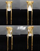 90cm Sailor Moon Tsukino Usagi Long Anime Cosplay Costume wig + Free wig cap