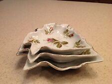 Vintage Norcrest Graduated Leaf Dishes Plates Set of 3 Floral Design Roses Gold