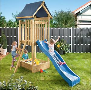 Kinderspielturm mit Rutsche, Sandkasten - Kinderspielhaus Spielturm Stelzenhaus