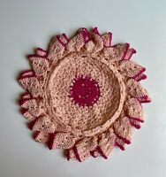 Vintage Hand Crocheted Round Doily -  Pastels with double scalloped edge