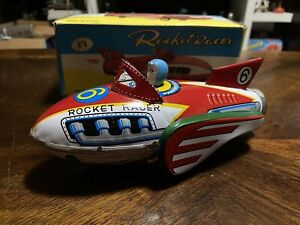Vintage ROCKET RACER Tin Toy MF735 W/Box Working Made In China