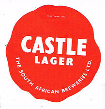 "South Africa Castle Lager Beer ""Wax Seal"" paper label Tavern Trove"