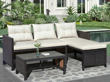 New Listing3Pcs Outdoor Patio Garden Rattan Furniture Set Sofa Sectional w/Cushions Table