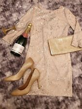 House of Fraser Champagne Silver Sequin Party Midi Dress M 8/10 RRP £65 BNWT