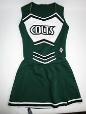 Child Colts Cheerleader Uniform Outfit Costume Top Skirt Yth Medium Green Black