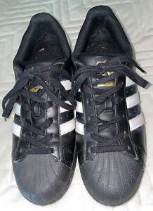 Adidas B39397 Superstar Black Shell Toe Leather Sneaker Shoes WO's US 7.5. EUC