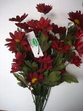 12 Daisy De Tiges Sprays x 6 Fleurs Artificielles En Soie 'Bordeaux'