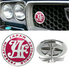 Japan Automobile Federation JAF JDM Rose Red Car Front Grille Metal Emblem Badge