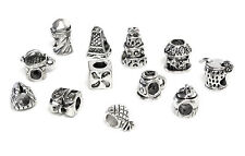 12 Silver color metal Charms Large Hole Chamilia Pandora