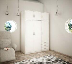 Wiktoria 3 door 3 drawer 3 cupboard wardrobe - White