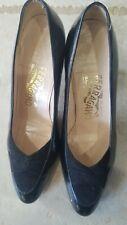 Ferragamo Black Patent Leather Suede Heels/Shoes 6.5